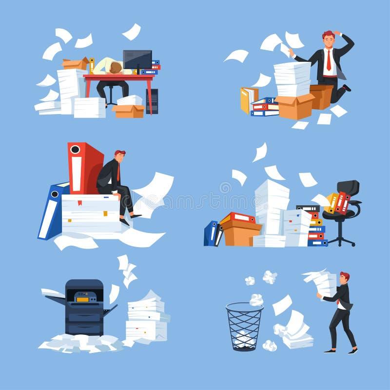 Documentos del papeleo de la oficina y cantidad del hombre de negocios y de trabajo de los paperblanks ilustración del vector