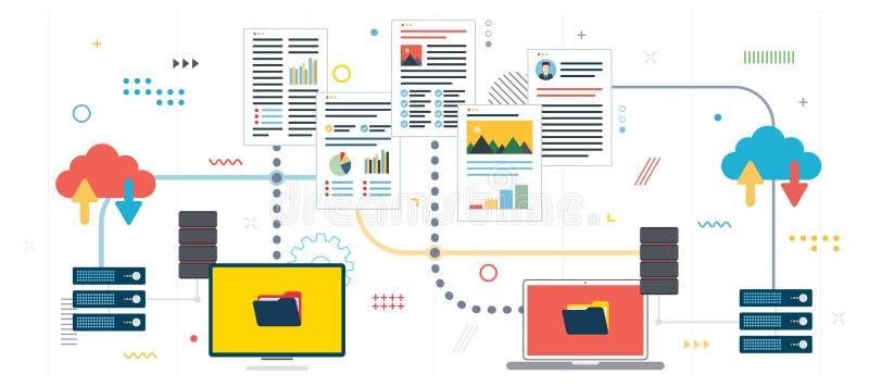 Documentos e dados de partilha e de transferência ilustração stock
