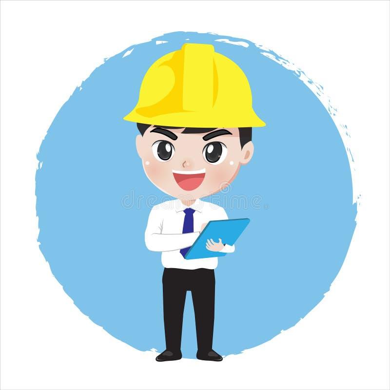 Documentos e trabalho da posse do menino do coordenador à disposição ilustração do vetor