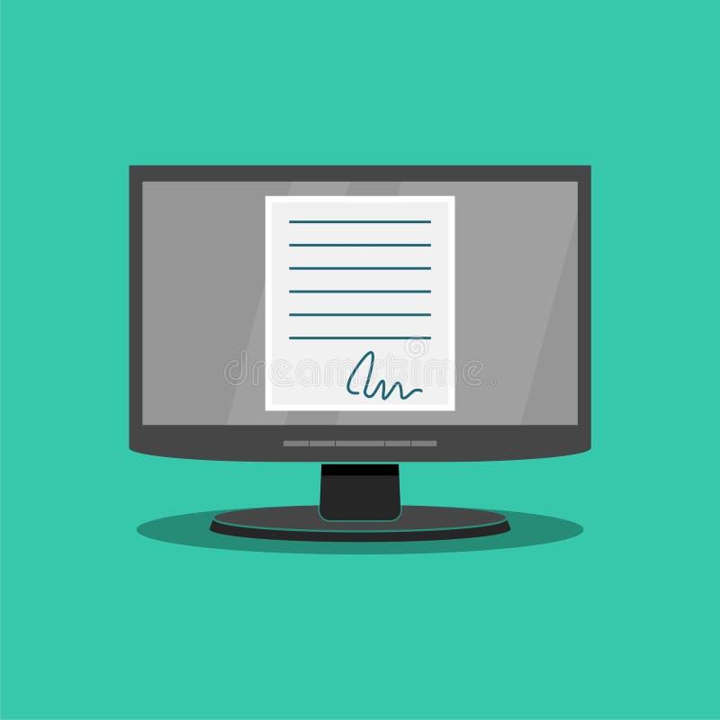 Documentos eletrónicos em linha, documento com a assinatura no tela de computador ilustração royalty free