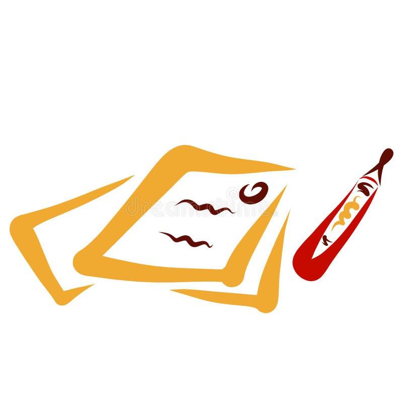 Documentos firmados y una pluma, varios papeles ilustración del vector
