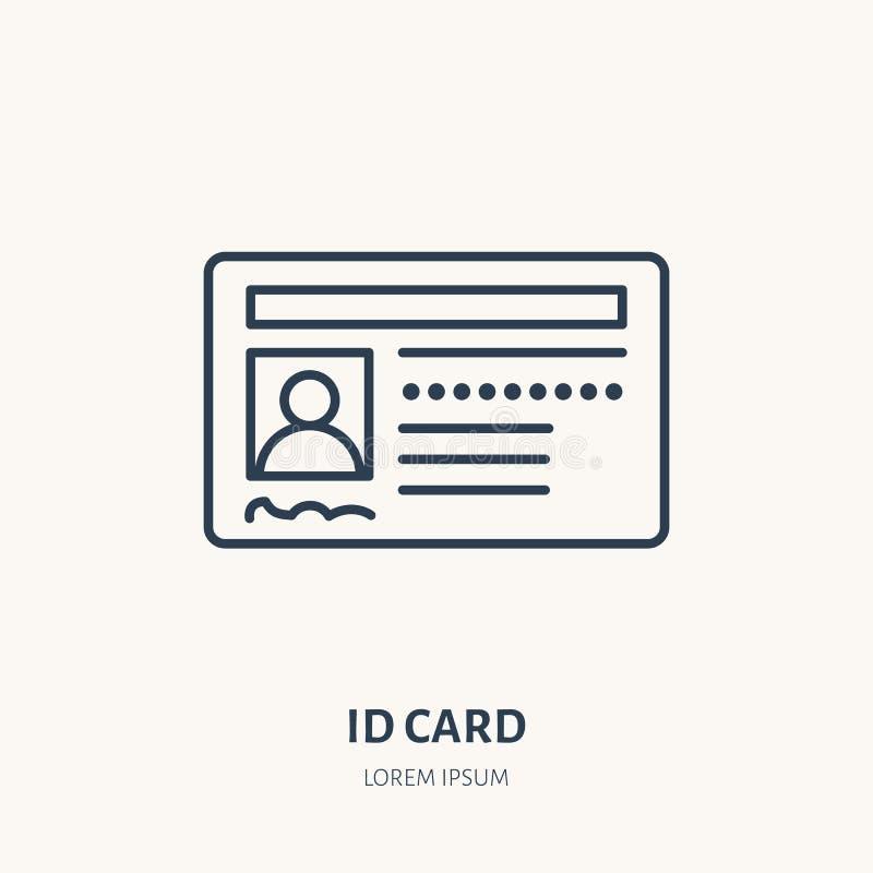 Documentos, línea plana icono del vector de la identidad Tarjeta de la identificación, muestra de la licencia de conductores libre illustration