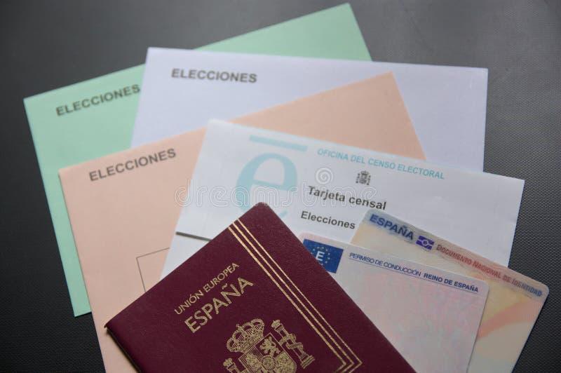 Documentos necessários exercitar o voto no estado espanhol fotografia de stock royalty free