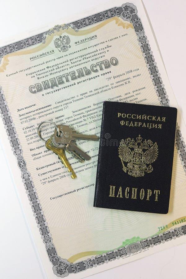Documentos: pasaporte del ciudadano de la Federación Rusa y imagenes de archivo