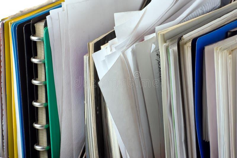 Documentos y carpetas de fichero fotografía de archivo