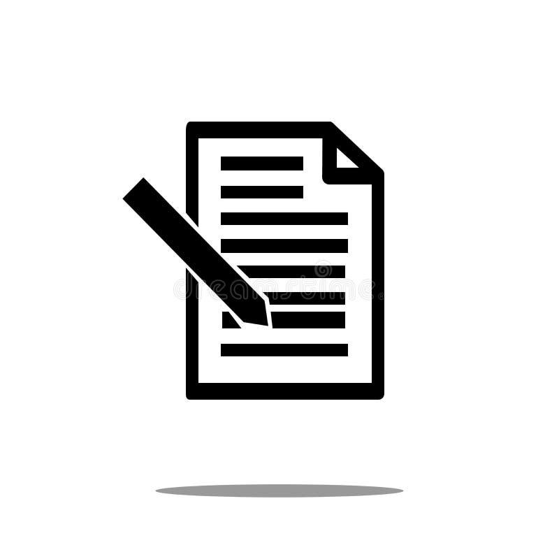 Documentpictogram met pen in in vlakke die stijl op achtergrond wordt geïsoleerd paginasymbool voor uw het Documentpictogram van  royalty-vrije illustratie