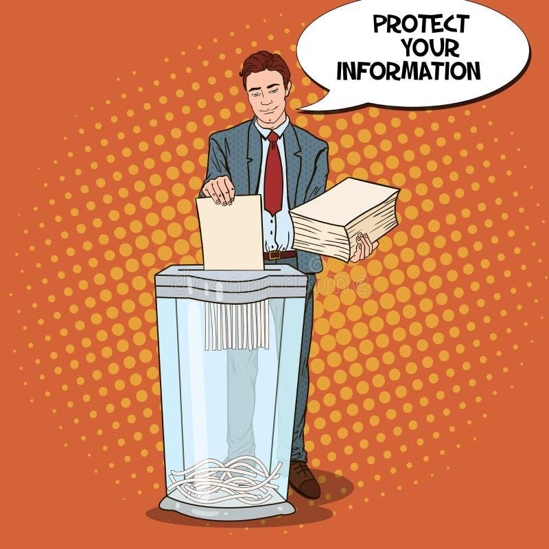 Documents d'Art Businessman Shredding Secret Paper de bruit illustration libre de droits