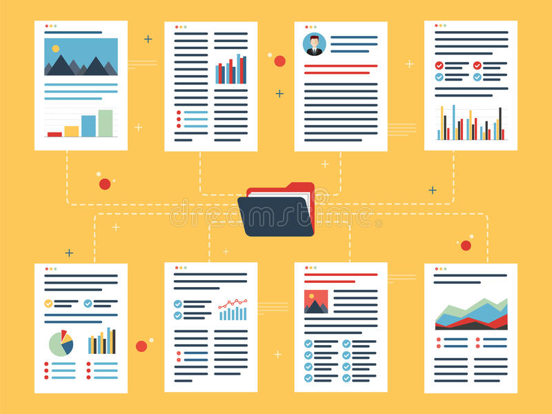 Documents with data, charts and folder. royalty free illustration