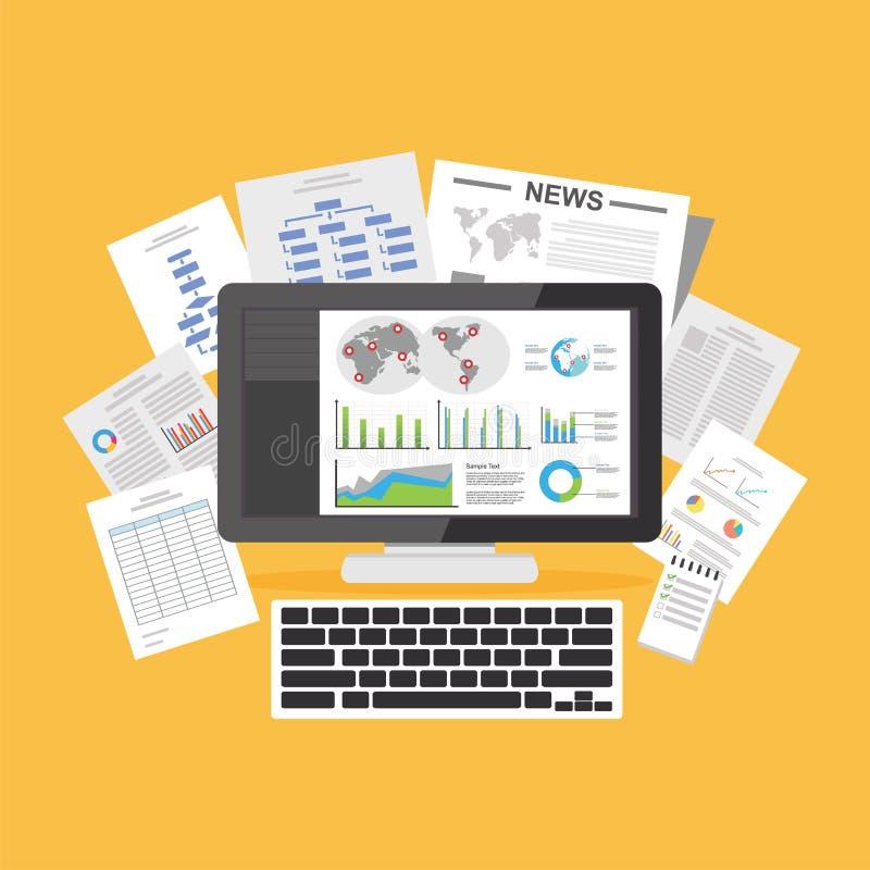 Documents de Digital Articles en ligne Ressources en information illustration de vecteur