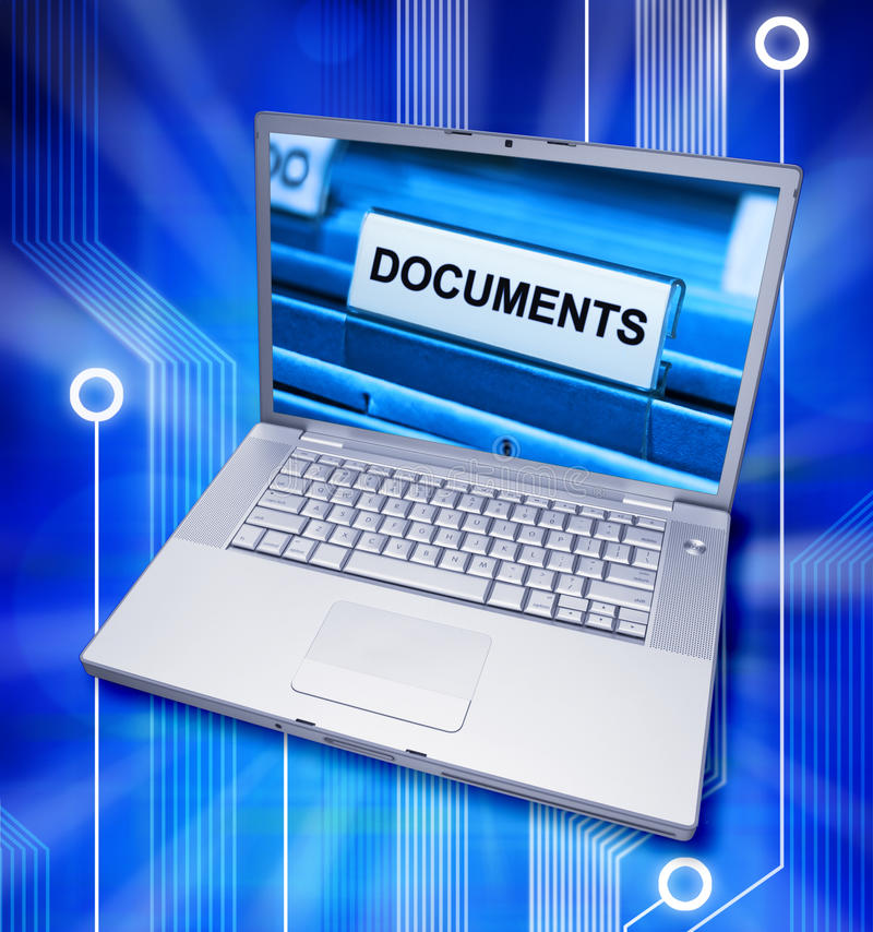 Documents Digital Files Computer. A laptop computer with a picture of file documents on the screen with a circuit background
