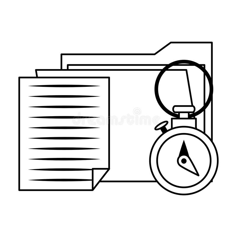 Documents files system archives cartoon in black and white. Documents files system archives with chronometer cartoon vector illustration graphic design stock illustration