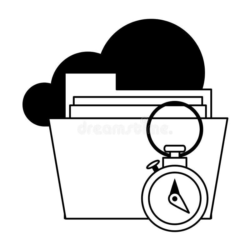 Documents files system archives cartoon in black and white. Documents files system cloud archives cartoon vector illustration graphic design stock illustration