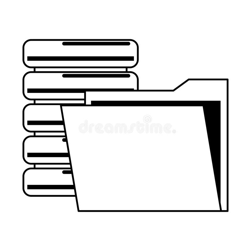 Documents files system archives cartoon in black and white. Documents files system database archives cartoon vector illustration graphic design royalty free illustration