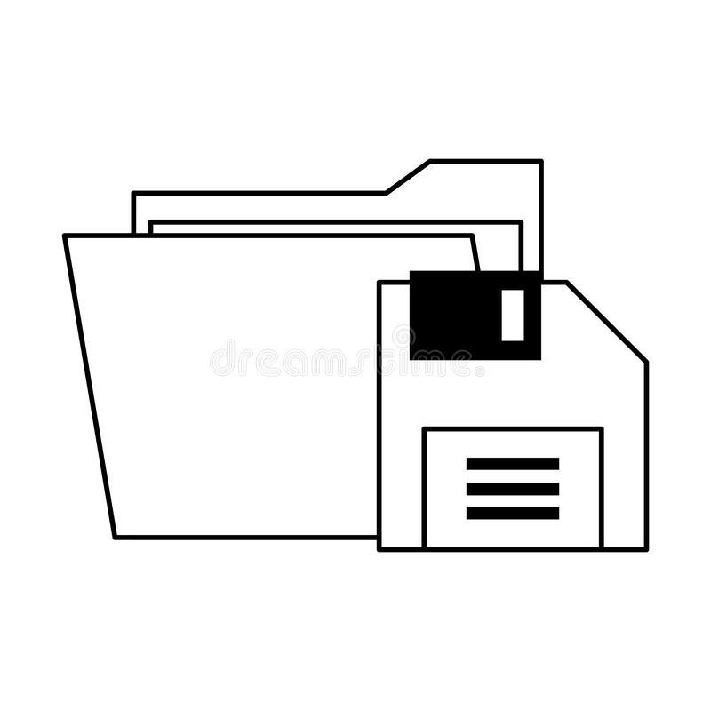 Documents files system archives cartoon in black and white. Documents files system diskette archives cartoon vector illustration graphic design royalty free illustration