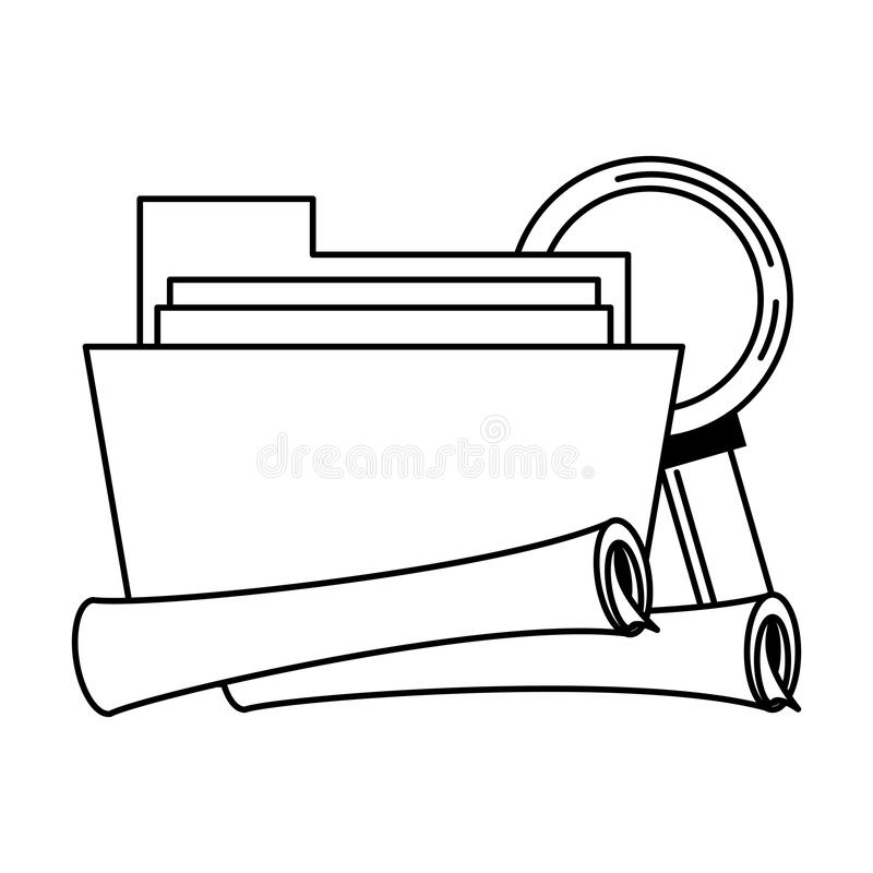 Documents files system archives cartoon in black and white. Documents files system archives with magnifying glass looking for information cartoon vector stock illustration