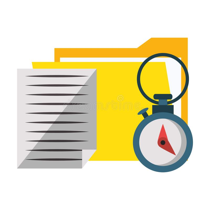 Documents files system archives cartoon. Documents files system archives with chronometer cartoon vector illustration graphic design royalty free illustration