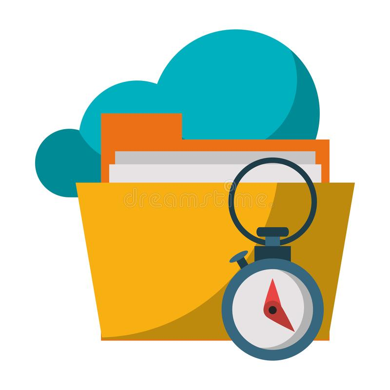 Documents files system archives cartoon. Documents files system cloud archives cartoon vector illustration graphic design stock illustration