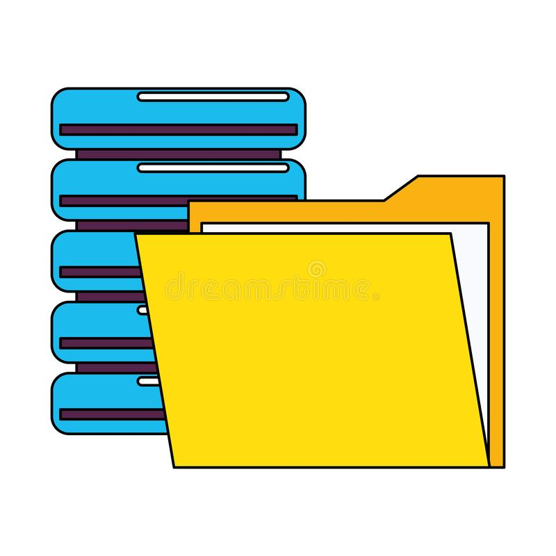 Documents files system archives cartoon. Documents files system database archives cartoon vector illustration graphic design royalty free illustration