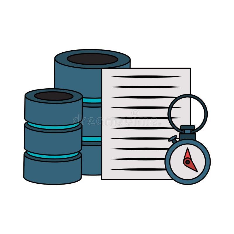 Documents files system archives cartoon. Documents files system database archives cartoon vector illustration graphic design stock illustration