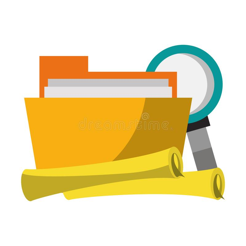 Documents files system archives cartoon. Documents files system archives with magnifying glass looking for information cartoon vector illustration graphic design vector illustration
