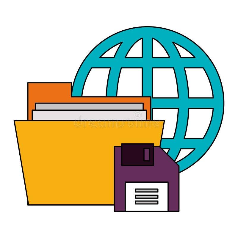 Documents files system archives cartoon. Documents files system web and diskette archives cartoon vector illustration graphic design vector illustration
