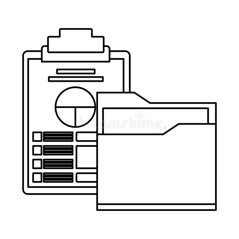 Documents folder files icon cartoon in black and white royalty free illustration