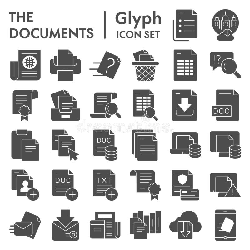 Documents glyph icon set, papers and files symbols collection, vector sketches, logo illustrations, data signs solid vector illustration