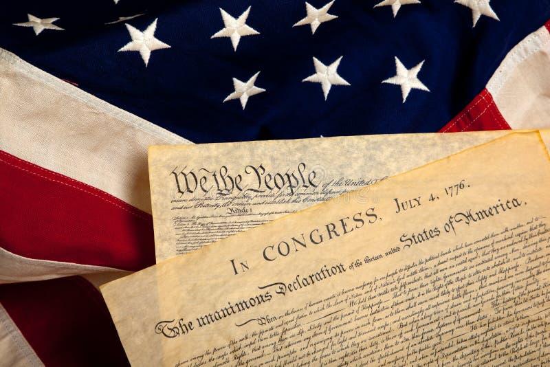 Documents historiques américains sur un indicateur photographie stock libre de droits