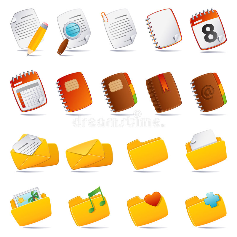Documents icon. Vector illustration - documents, mail and and folder icon set