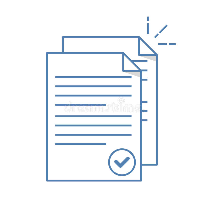 Documents icon. Stack of paper sheets. Confirmed or approved document. Flat line illustration on white vector illustration