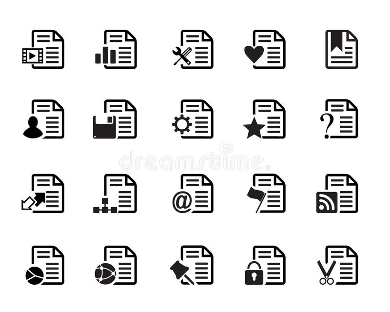Documents Icons Vector. Web Icons vector illustrator, available in jpeg and eps formats, to modify this file editing software such as Adobe Illustrator, Freehand royalty free illustration