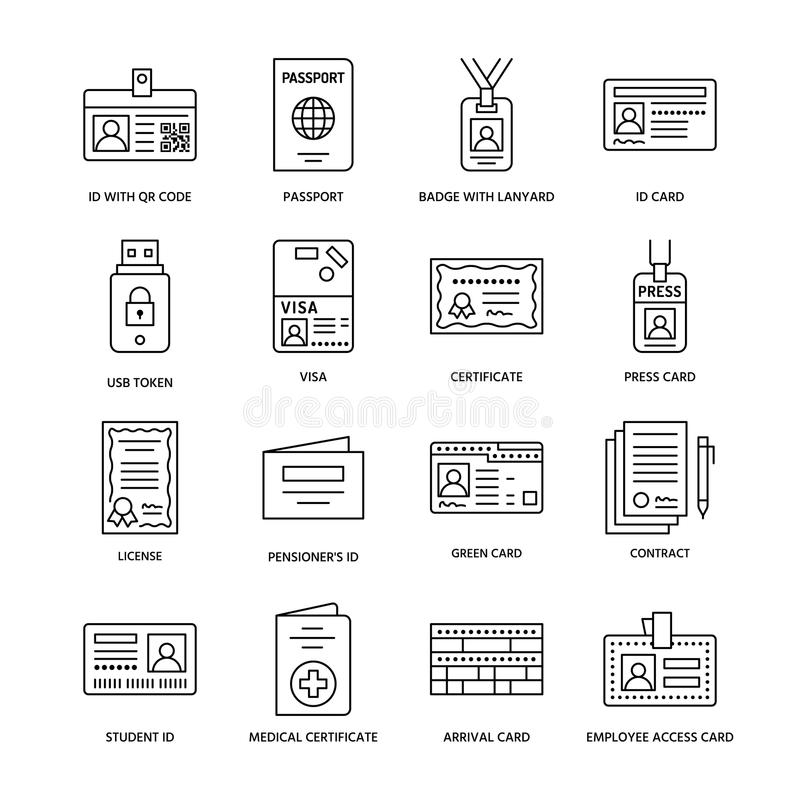 Documents identity vector flat line icons. ID cards, passport, press access, student pass, visa, migration certificate vector illustration