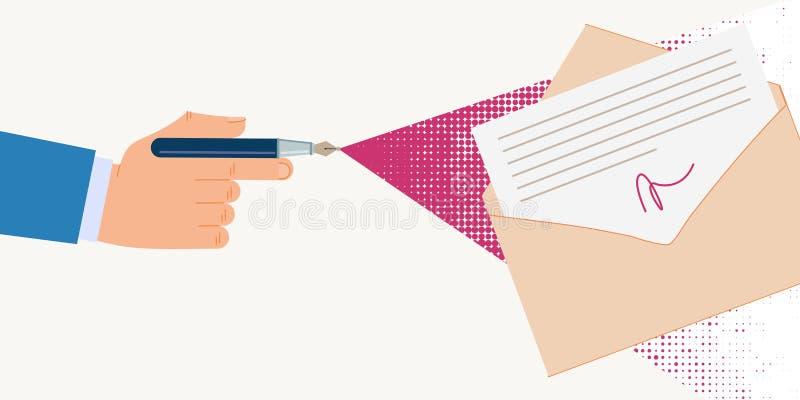 Documents informationnels de signature digitale d'affiche illustration libre de droits
