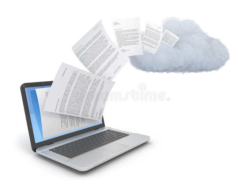Documents ou données de transfert à un nuage. illustration stock