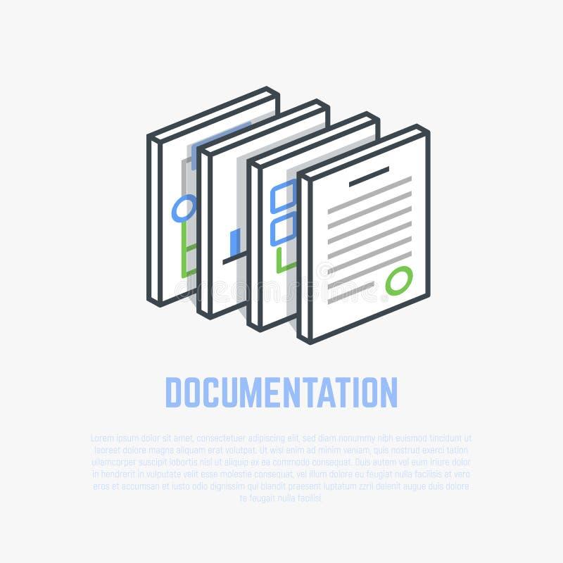 Documentation isometric illustration royalty free illustration