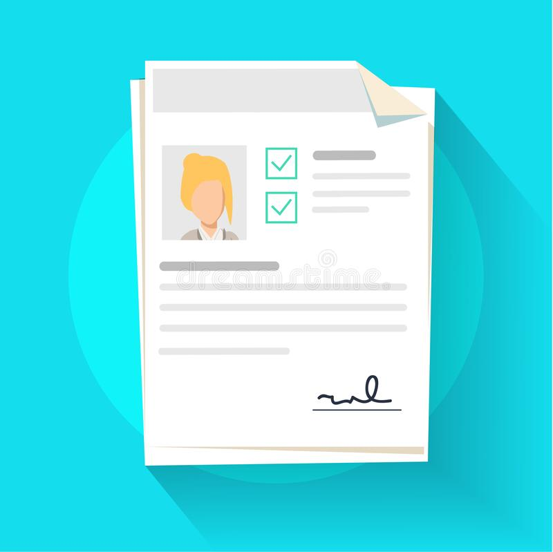 Documents with personal data illustration, flat cartoon paper document pile or stack with user profile royalty free illustration