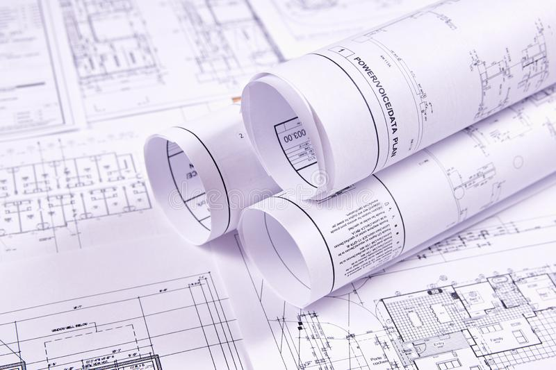 Documents for the project engineering work. Engineering background. Construction drawings of buildings and structures for the project engineering work. Close-up royalty free stock photos