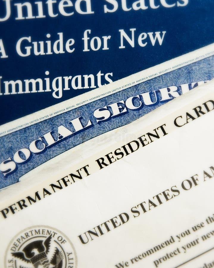 Documents résidents neufs des USA photos stock