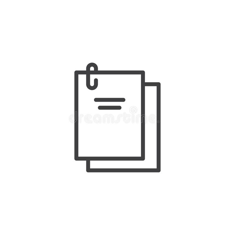 Documents stapled with a paper clip outline icon royalty free illustration