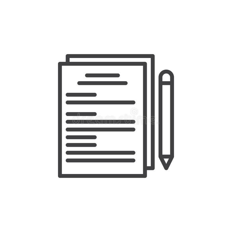 Documents sur papier et ligne icône de stylo illustration libre de droits
