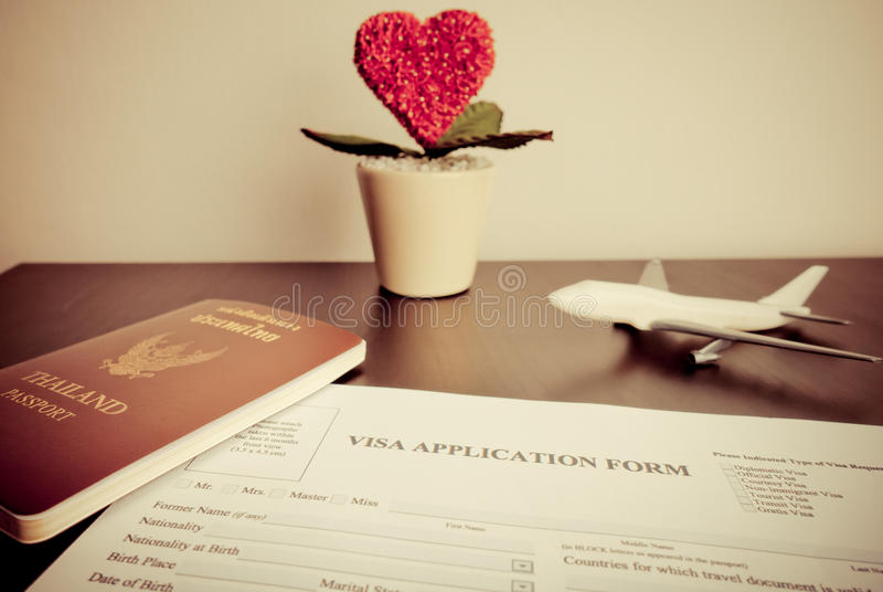 Documents Visa for Homneymoon trip on desk. Documents for Visa for Homneymoon trip on desk royalty free stock photography