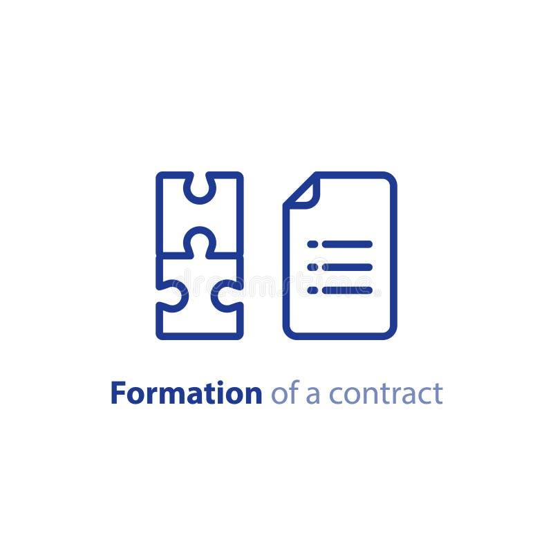 Documentverwezenlijking, vorming van een contract, termen en voorwaardenregelingsovereenkomst, vectorpictogram stock illustratie