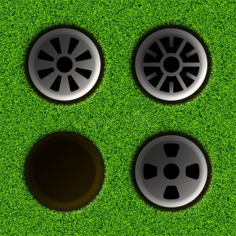 dodać ad obszaru golfa dziurę publicznych właściwego wydajności tekstu royalty ilustracja