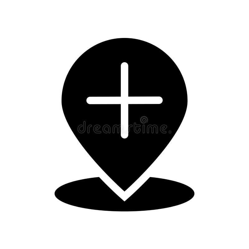 Dodaje lokacji ikonę Modny Dodaje lokacja logo pojęcie na białym bac ilustracja wektor