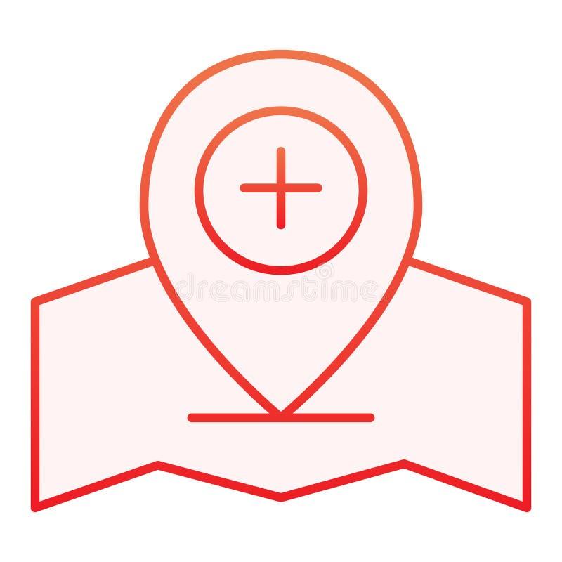Dodaje lokacji wałkową płaską ikonę Gps przyczepiają czerwone ikony w modnym mieszkanie stylu Kartografuje pointeru plus gradient royalty ilustracja
