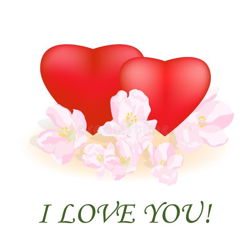 dodaje może target568_0_ gratulacyjnego powitania poczta szablonu tekst ty twój Dwa czerwonego serca dekorującego z kwitnąć c royalty ilustracja