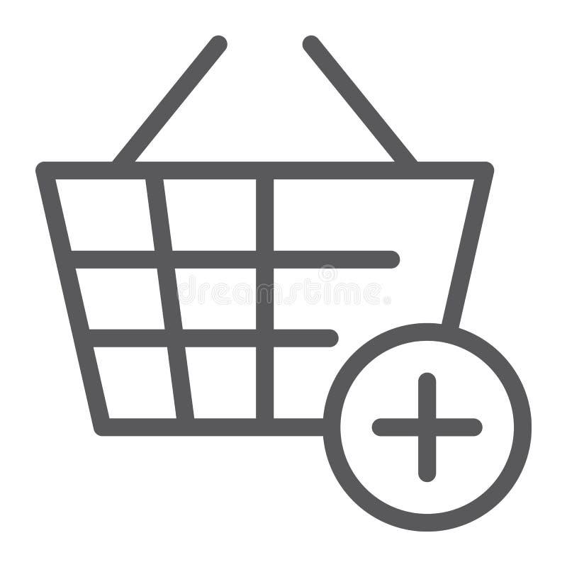 Dodaje wiadro linii ikona, internet i sklep, zakupy kosza znak, wektorowe grafika, liniowy wzór royalty ilustracja