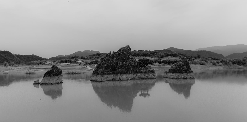 Dodamsambong Peaks rising out of the Namhangang River. Danyang, North Chungcheong, South Korea, Asia. Eulwangni Beach in Incheon, Sokcho Tourist & Fishery Market royalty free stock images