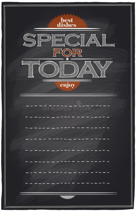 Dodatek specjalny dla today chalkboard menu z miejscem dla teksta royalty ilustracja
