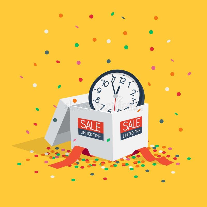 Dodatek specjalny ograniczał czas sprzedaży symbol z białym prezenta pudełkiem, ściana zegarkiem i latanie confetti, royalty ilustracja